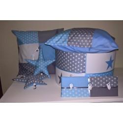 Patchwork lichtblauw, grijs en wit